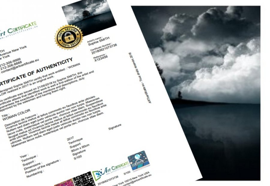 Certificate of authenticity photography