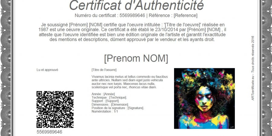 Download a Certificate of Authenticity