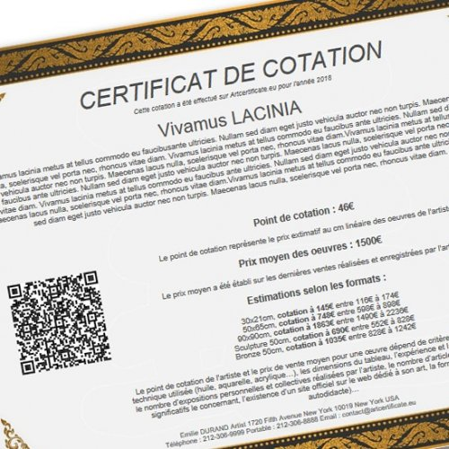 COTATION CERTIFICATE  Print your artist rating