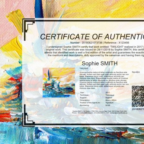 STANDARD CERTIFICATE   For Beginners Artists